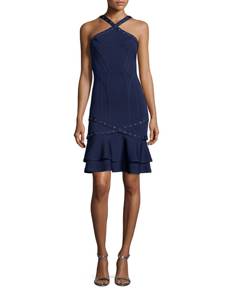 Herve Leger Studded Sleeveless Bandage Dress with Detachable