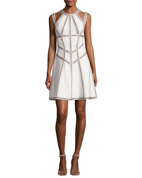 Herve Leger Honeycomb Jacquard Fit & Flare Dress,