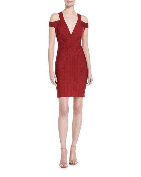 Herve Leger Cold-Shoulder V-Neck Bandage Dress, Ruby