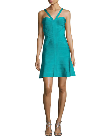 Herve Leger Cross-Front Fit & Flare Bandage Dress,