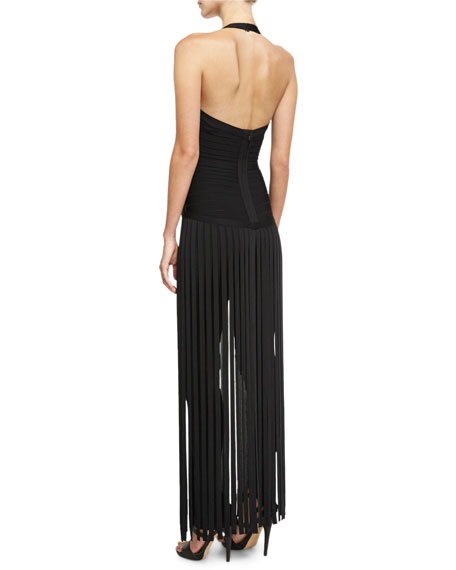 Deep V-Neck Fringe Jumpsuit, Black