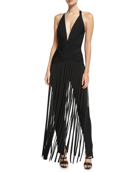 Herve Leger Deep V-Neck Fringe Jumpsuit, Black