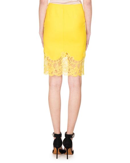 Lace-Hem Wool Pencil Skirt, Yellow