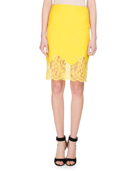 Givenchy Lace-Hem Wool Pencil Skirt, Yellow