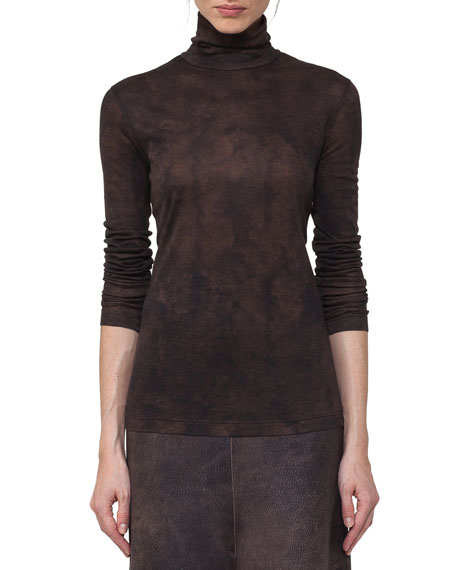 Akris Shearling-Print Cashmere-Silk Turtleneck