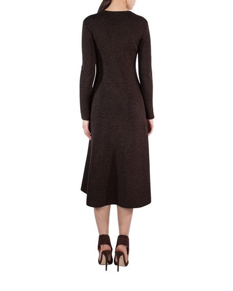 Ribbed Stretch Wool-Silk A-Line Dress