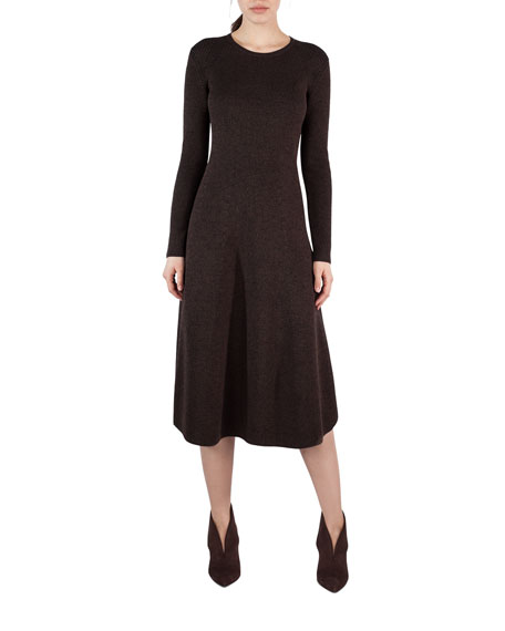 Akris Ribbed Stretch Wool-Silk A-Line Dress