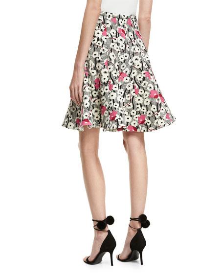 Floral Waves Flared Skirt
