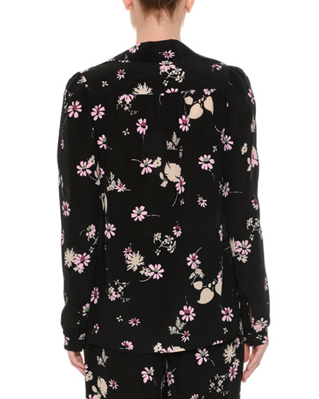 Floral-Print Silk Pajama Top, Black