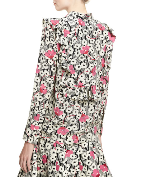 Floral Waves Tie-Neck Ruffle Blouse