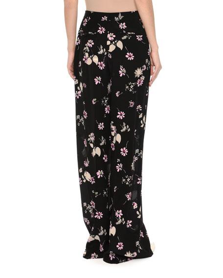 Floral-Print Silk Pajama Pants, Black