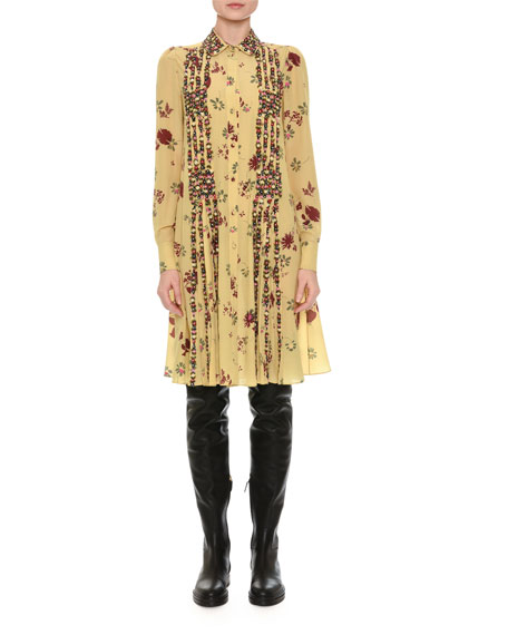 Beaded Floral-Print Shirtdress, Yellow