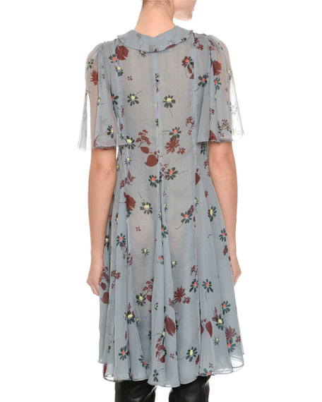 Floral-Print Chiffon Shirtdress, Blue