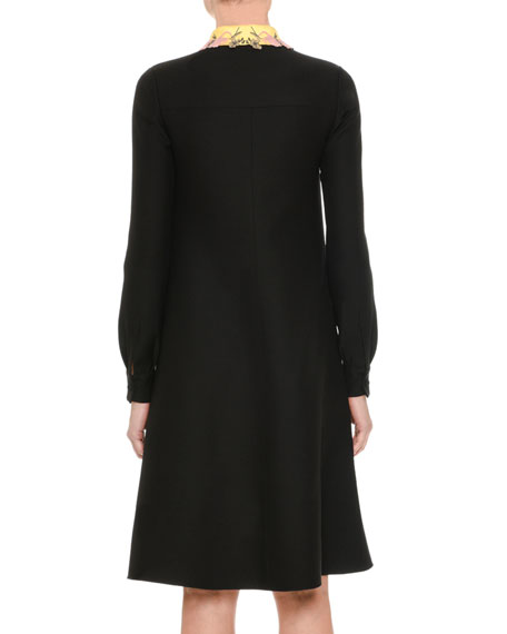 Crepe Couture Floral-Collar Shirtdress, Black
