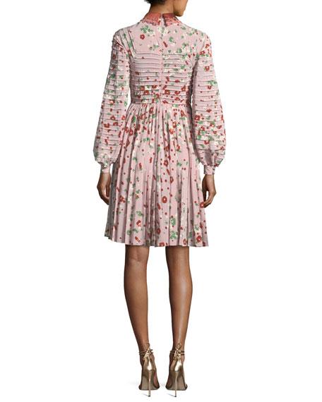 Long-Sleeve Floral-Print Silk Dress