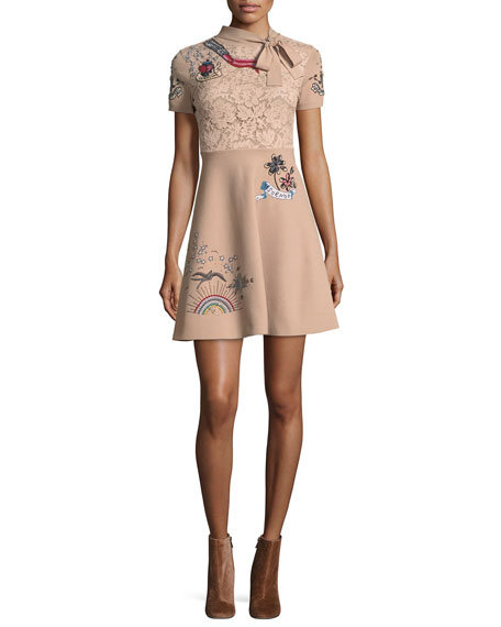 Tattoo-Embroidered Necktie A-Line Dress