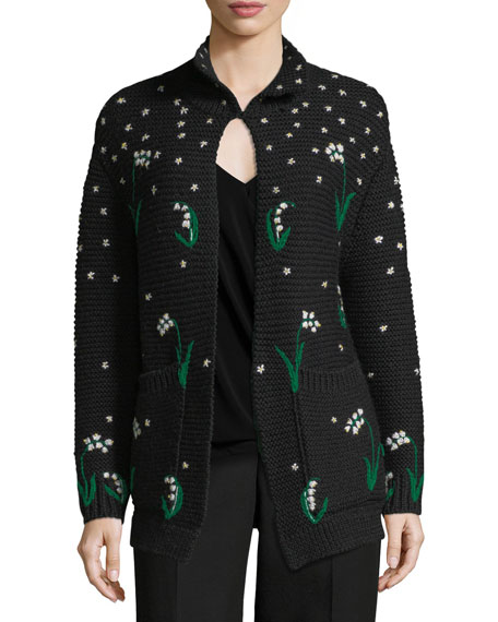 Lily of the Valley Hand-Embroidered Virgin Wool Cardigan