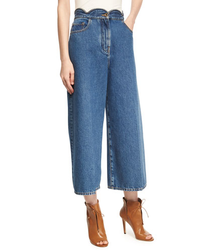 Scalloped High-Waist Cropped Wide-Leg Jeans, Light Blue