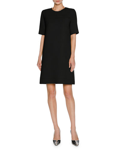 Short-Sleeve Virgin Wool T-Shirt Dress, Black