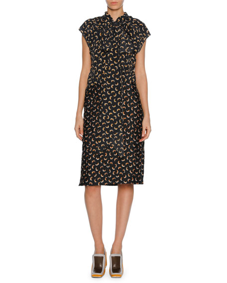 Marni Printed Silk Tie-Neck Cap-Sleeve Dress, Gray