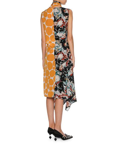 Patchwork Placed-Print Silk Tie-Neck Midi Dress, Orange Pattern