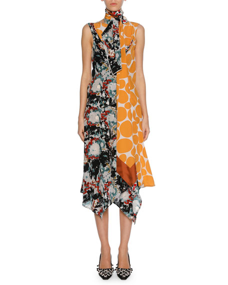 Patchwork Placed-Print Silk Tie-Neck Midi Dress, Orange Pattern