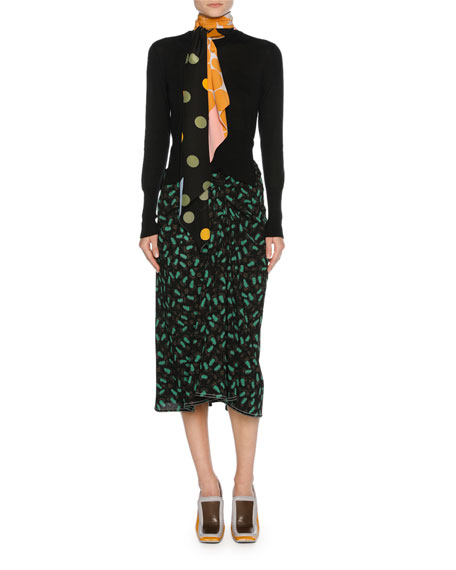 Plume-Print Draped Viscose Midi Skirt, Black