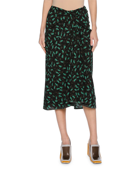Marni Plume-Print Draped Viscose Midi Skirt, Black and