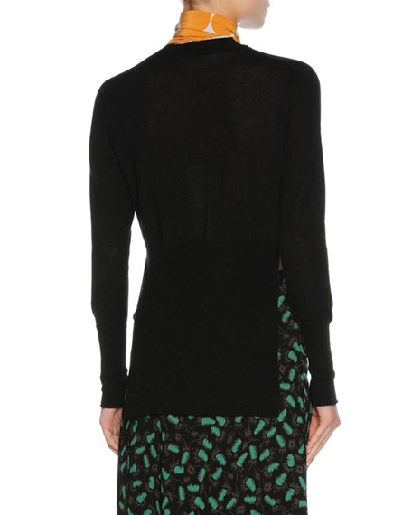 Scarf-Neck Cashmere Sweater, Black