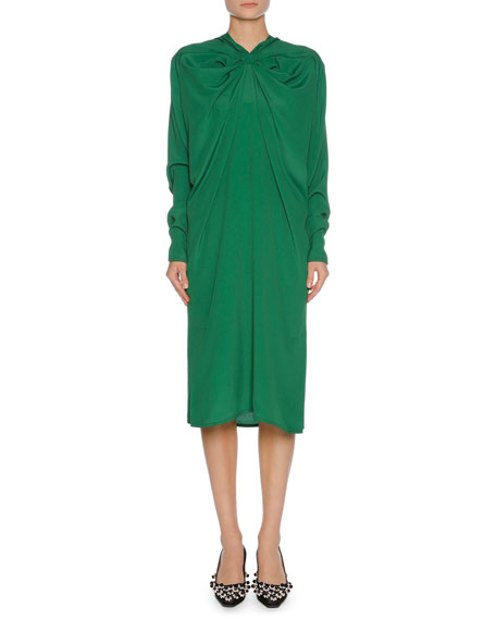Gathered-Neck Long-Sleeve Crepe Dress, Green