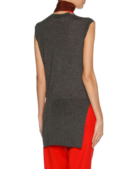 Sleeveless Cashmere Scarf-Neck Sweater, Medium Gray