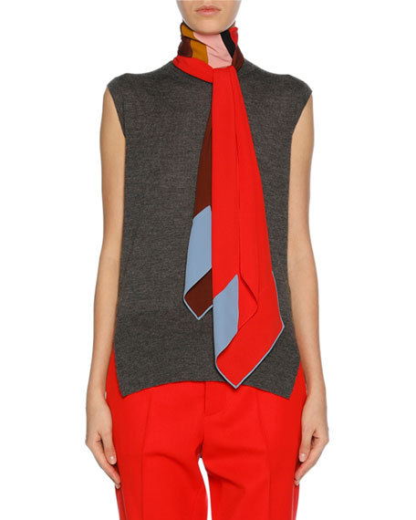 Marni Sleeveless Cashmere Scarf-Neck Sweater, Medium Gray and