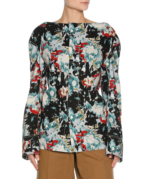 Marni Magnum Abstract-Print Poplin Long-Sleeve Shirt, Multicolor