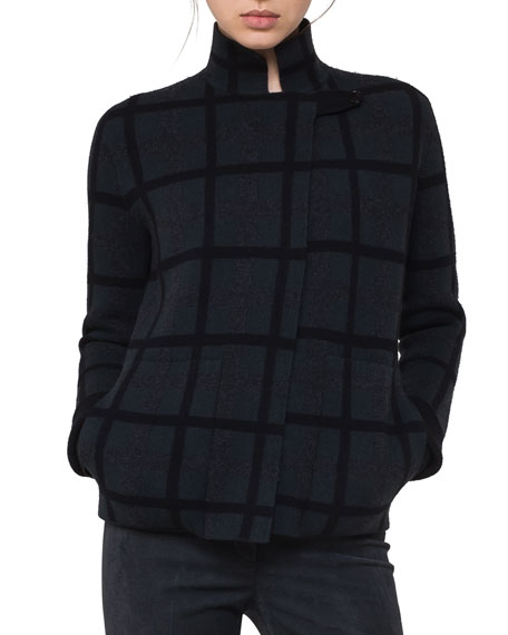 Akris Grid-Check Reversible Cashmere Cardigan