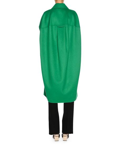 Clasp-Closure Wool-Cashmere Cape, Green