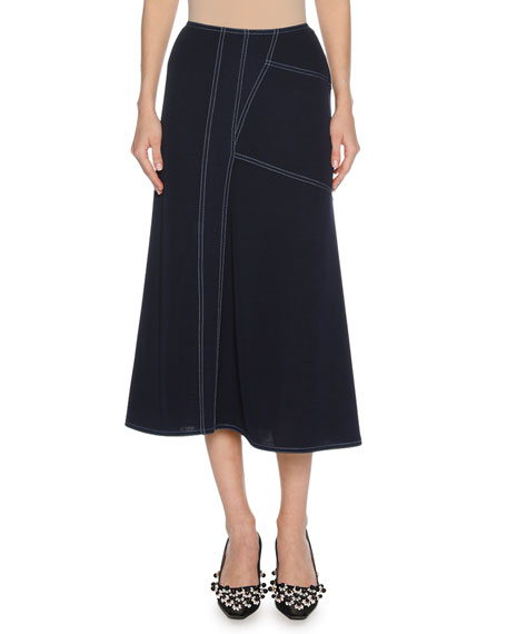 Marni Contrast-Stitch Viscose A-Line Midi Skirt, Blue