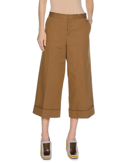 Marni Stretch-Cotton Culottes, Neutral