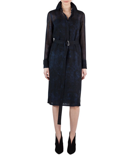 Akris Belted Shearling-Print Wool Shirtdress