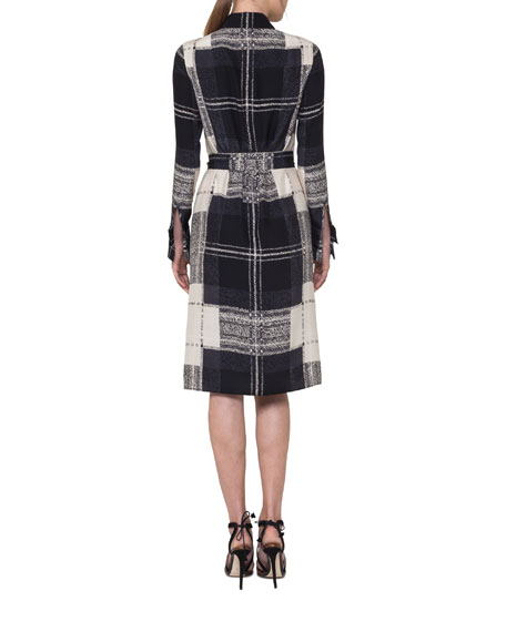 Crosshair-Print Silk Satin Belted Shirtdress