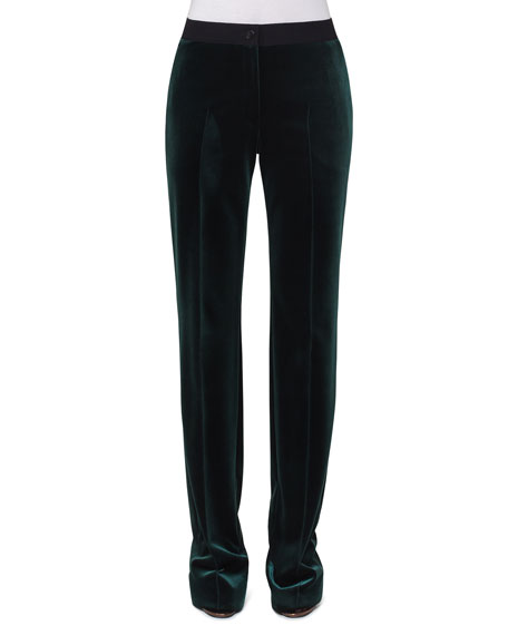 Carl Velvet Straight-Leg Pants