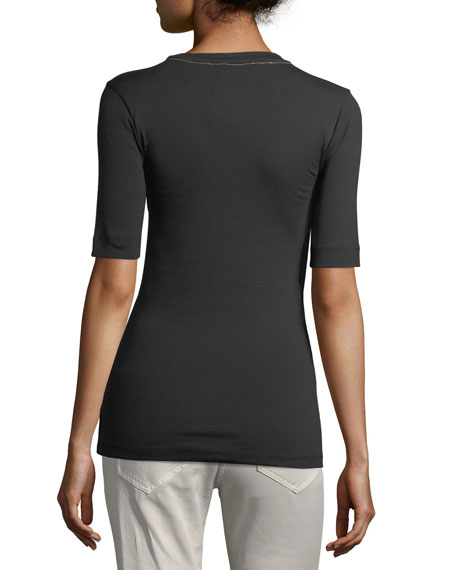 Elbow-Sleeve Ribbed Crewneck Tee