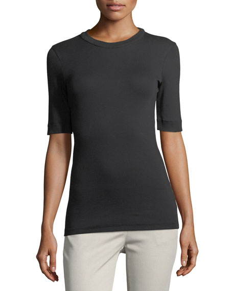 Brunello Cucinelli Elbow-Sleeve Ribbed Crewneck Tee