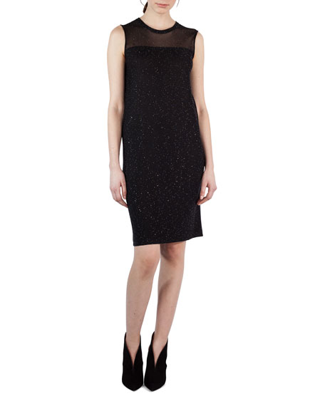 Akris Sequined Sheer-Yoke Sleeveless Shift Dress and Matching