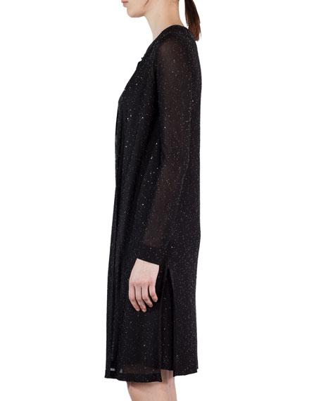 Sequined Side-Slit Cardigan