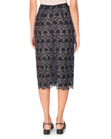 Sara Floral Lace Pencil Skirt, Black/Blue