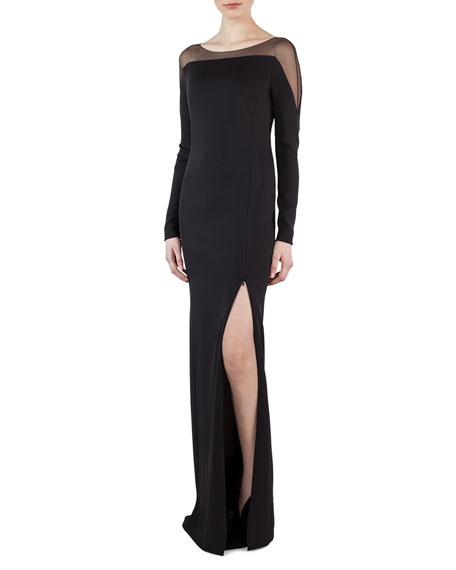 Tulle-Shoulder Silk Crepe Gown