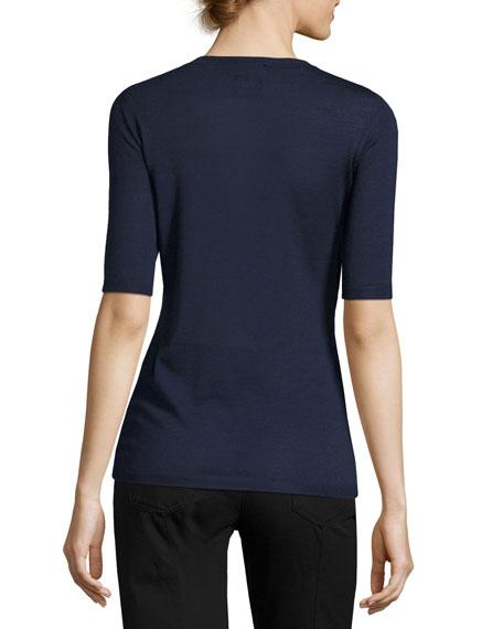 Wool-Silk Half-Sleeve Sweater, Dark Blue