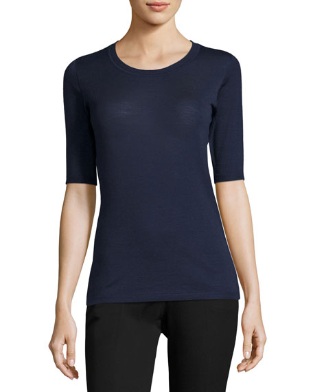 Wool-Silk Half-Sleeve Sweater, Dark Blue