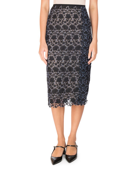 Erdem Sara Floral Lace Pencil Skirt, Black/Blue