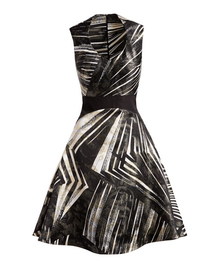 Abstract-Stripe Sleeveless Fit & Flare Dress, Black